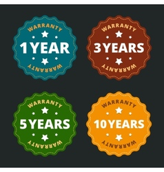 Warranty labels - for 1 2 5 and 10 years in flat vector