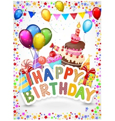 Birthday background with colorful balloon and birt vector