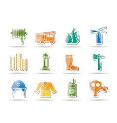 Emergency fire icons vector