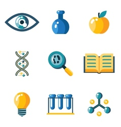 Flat science education research study web icons vector