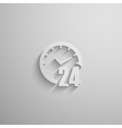 An open 24 hours a day 3d paper icon with long vector