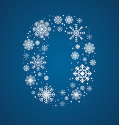 Number 0 font frosty snowflakes vector