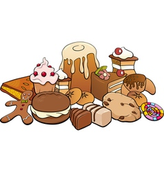 Sweets group cartoon vector