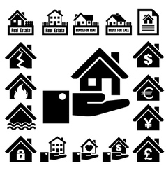 House insurance icons set vector