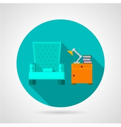 Flat color room interior icon vector