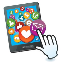 Tablet pc with social media icons and hand cursor vector
