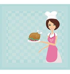 Housewife serving a chicken or turkey vector