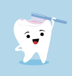 Tooth mascot with a brush vector