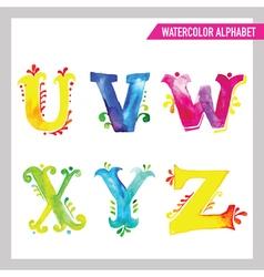 Watercolor alphabet - abc painted letters u-z vector