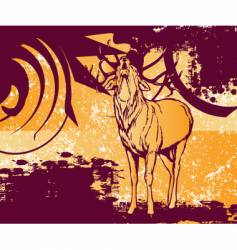 Grungy deer vector