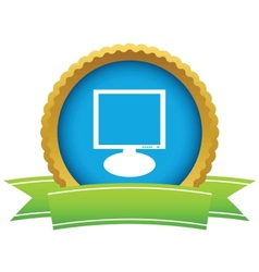 Gold monitor logo vector