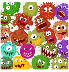 Cartoon bacteria collection set vector