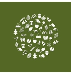 Nature icons in circle vector