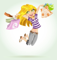 Cute blond girl shopaholic vector