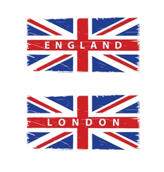 Grunge union jack flags vector