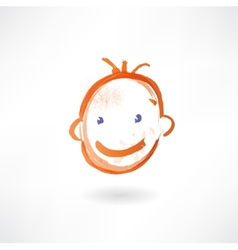 Smiling kid grunge icon vector
