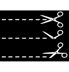 White scissors and cut lines set vector
