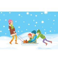 Children sledding vector