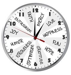 Clock with positive feelings vector