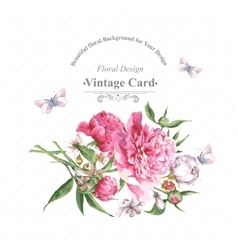 Vintage watercolor greeting card with blooming vector