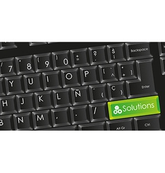 Conceptual black keyboard with letters in white wi vector