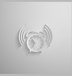 An alarm clock icon with long shadow vector