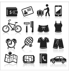 Travel black icons set vector