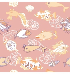 Seamless pattern with fishes and cockleshells vector