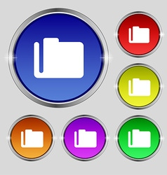Document folder icon sign round symbol on bright vector