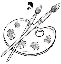 Doodle artist art paint brush vector