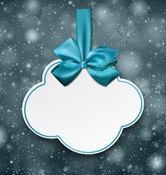 White cloud gift card with blue satin bow vector