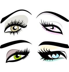 Beautiful girls eyes set vector