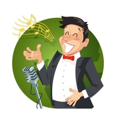 Singer sing with microphone vector