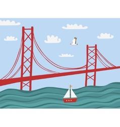 Lisbon 25 april bridge vector
