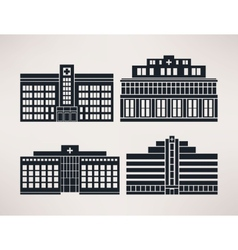 City hospital icon set flat style vector