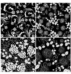 Floral seamless set vector
