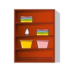 Linen cupboard wardrobe with clothes vector