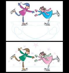 Iceskating couple vector