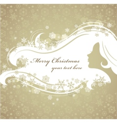 Christmas background with woman silhouette vector