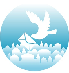White dove with message vector