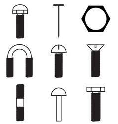 Set of screws icon vector