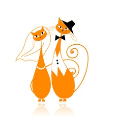 Groom and bride cats wedding for your design vector