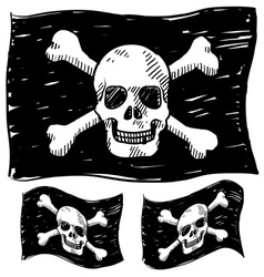 Doodle skull pirate flag vector