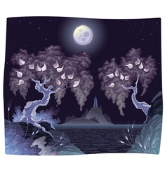 Romantic landscape on the sea in the night vector