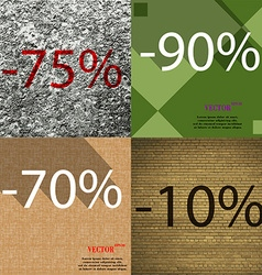 90 70 10 icon set of percent discount on abstract vector