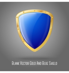 Blank blue realistic glossy shield with golden vector