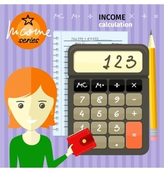 Income calculation concept vector
