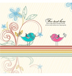 Birds with floral vector