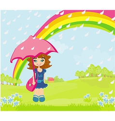 Girl walking in the rain vector