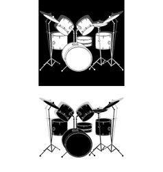 Drum set black and white with shadow vector